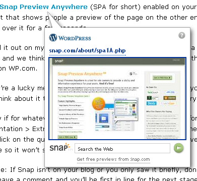 Snap Preview Anywhere on WordPress.com