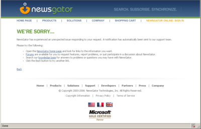 NewsGator Errore HTTP 500